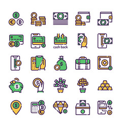 finances management green color linear icons set vector image