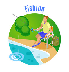 fishing isometric composition vector image
