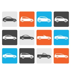 Flat different types of cars icons vector image