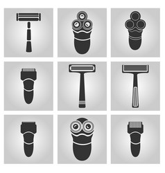 Flat trendy dark icon with electric shaver vector
