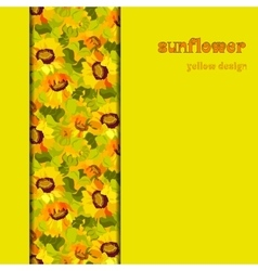 Floral sunflower and leafs vertical border design vector image