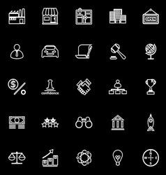 Franchise line icons on black background vector