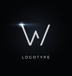Futurism style letter w minimalist type vector