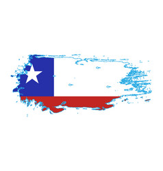 Grunge brush stroke with chile national flag vector