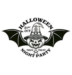 halloween emblem pumpkin with bat wings vector image