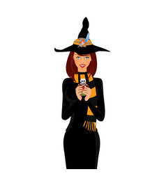 Halloween of young witch with long brown hair and vector