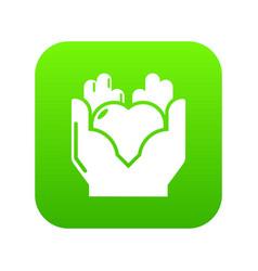 hand heart icon green vector image