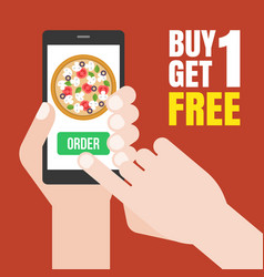 Hand holding smartphone to order pizza vector