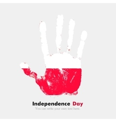 Handprint with the Flag of Poland in grunge style vector image