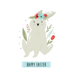Happy easter with cute rabbit vector