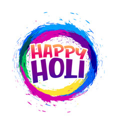 happy holi abstract colorful frame background vector image