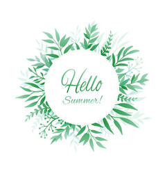 Hello summer background with leaves vector