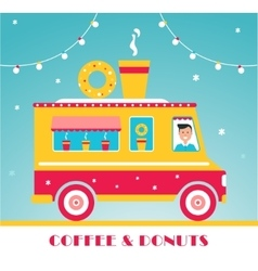 Hot Coffee and Donuts Food Truck and Lights vector