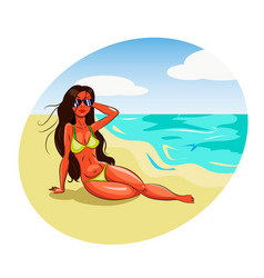 Hot girl in bikini on a beach vector