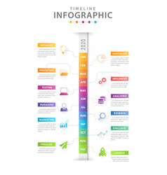 infographic modern timeline calendar with grantt vector image