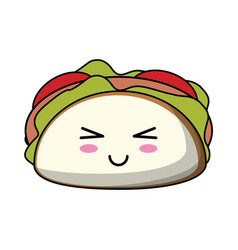 Kawaii taco mexican food icon vector