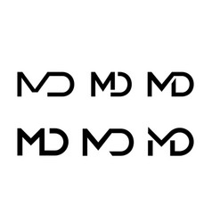 Letter m d ligature monogram icon vector