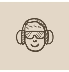 Man in headphones sketch icon vector image