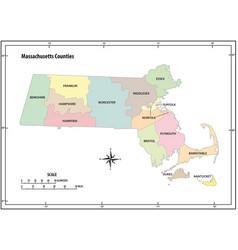 massachusetts state outline map vector image
