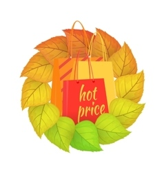 Paper Bags Hot Price in a Wreath from Leaves vector