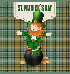 patrick day cheerful leprechaun green hat to the vector image