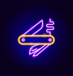 pocket knife neon sign vector image