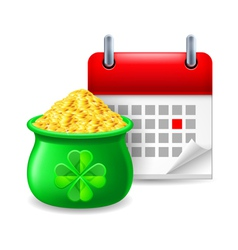 Pot of gold and calendar vector image