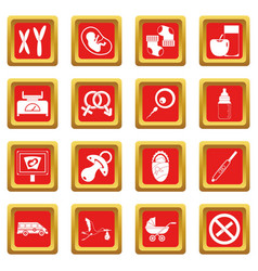 Pregnancy symbols icons set red vector