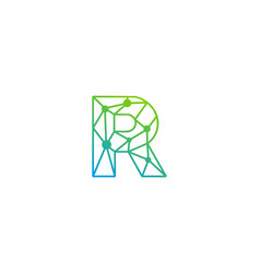 r letter network logo icon design vector image