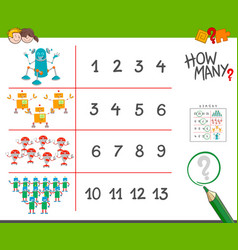 Robots counting game cartoon vector