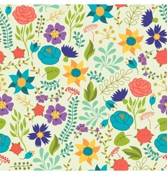 Romantic seamless pattern of various flowers in vector