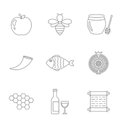Rosh Hashanah Shana Tova linear icons vector