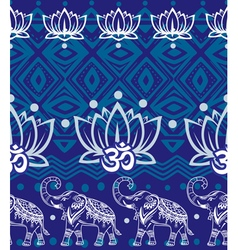 seamless pattern with decorated elephants vector image