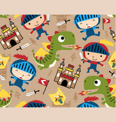 Seamless pattern with little knight cartoon with vector