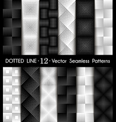 Set dotted line geometric seamless pattern vector