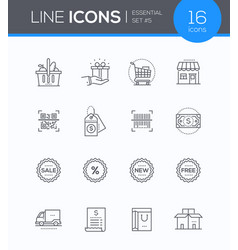 Shopping - modern colorful icons set vector