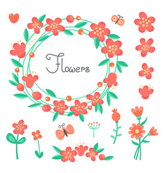simple cute flowers and butterflies for design vector image