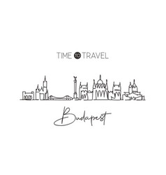 single continuous line drawing budapest skyline vector image