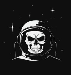 Skull astronaut in space vector