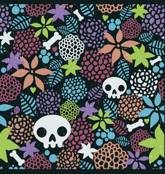 Skulls and flowers seamless pattern art vector
