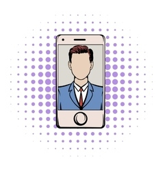 Smart phone with a skype video comics icon vector image