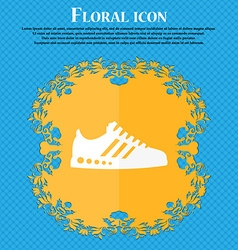 Sneakers icon Floral flat design on a blue vector image