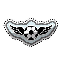 soccer balloon with wings vector image