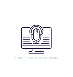 Speech recognition line icon vector