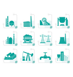 Stylized heavy industry icons vector