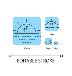 Sunrise turquoise linear icons set vector