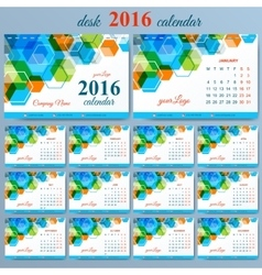 template desk calendar 2016 years Week vector image