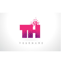Th t h letter logo with pink purple color and vector