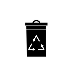 trash box recycle icon on white background can vector image