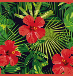 tropical red hibiscus green palm leaves seamless vector image